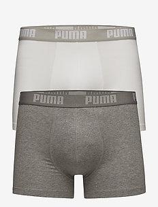 PUMA BASIC BOXER 2P - unterwäsche - white / grey melange