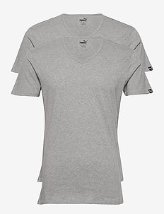 PUMA BASIC 2P V-NECK - pyjamas - middle grey melange
