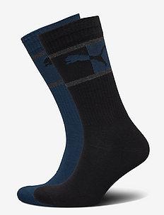 PUMA MEN BLOCKED LOGO SOCK 2P - vanliga strumpor - intense blue/grey m?lange