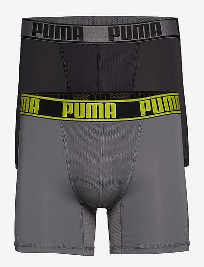 PUMA ACTIVE BOXER 2P PACKED - boxerkalsonger - grey yellow