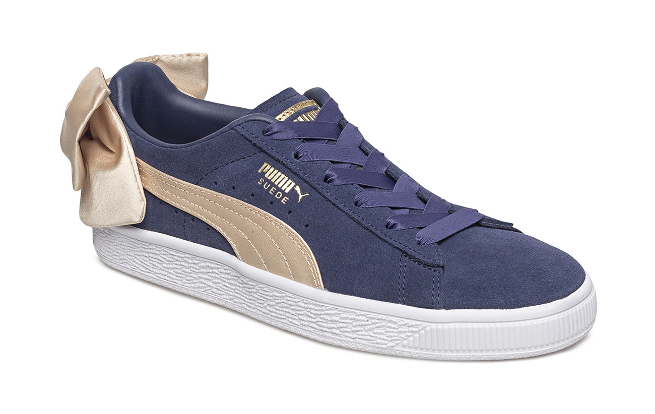 Suede Bow Varsity Wns (Peacoat-metallic Gold) (£50.40) - PUMA ... 8651cb8dc