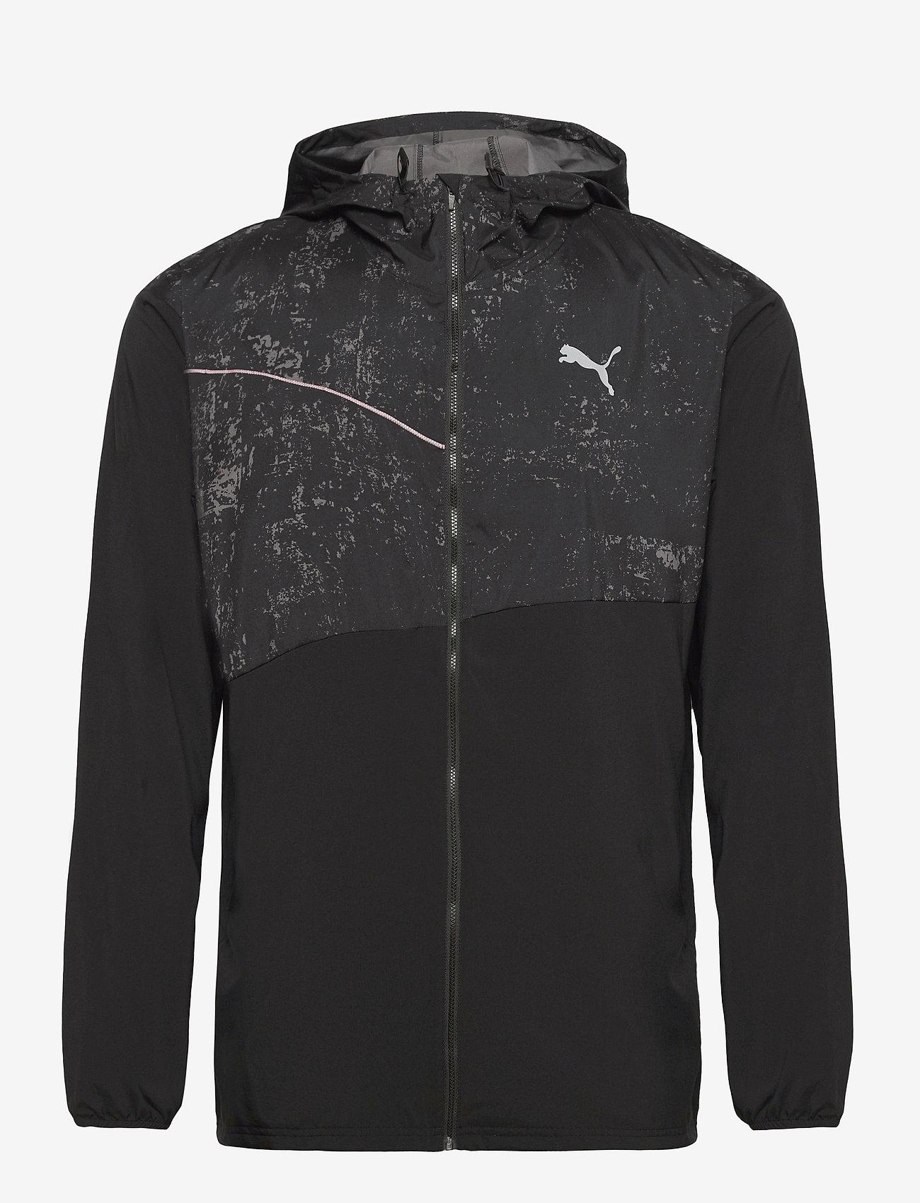 PUMA - RUN GRAPHIC HOODED JACKET M - sportsjakker - puma black - 1
