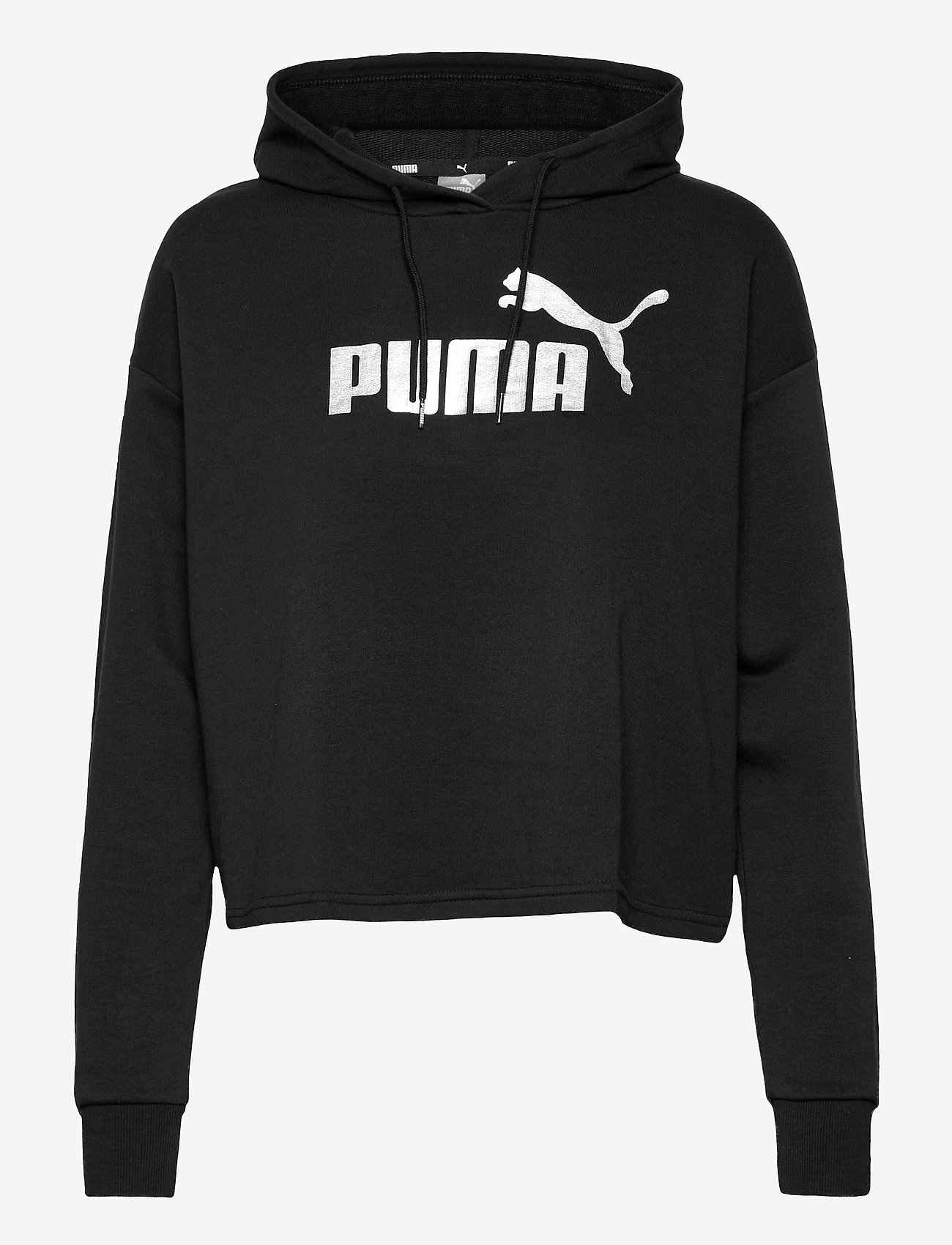PUMA - ESS+ Cropped Metallic Logo Hoodie TR - hættetrøjer - puma black-silver - 0