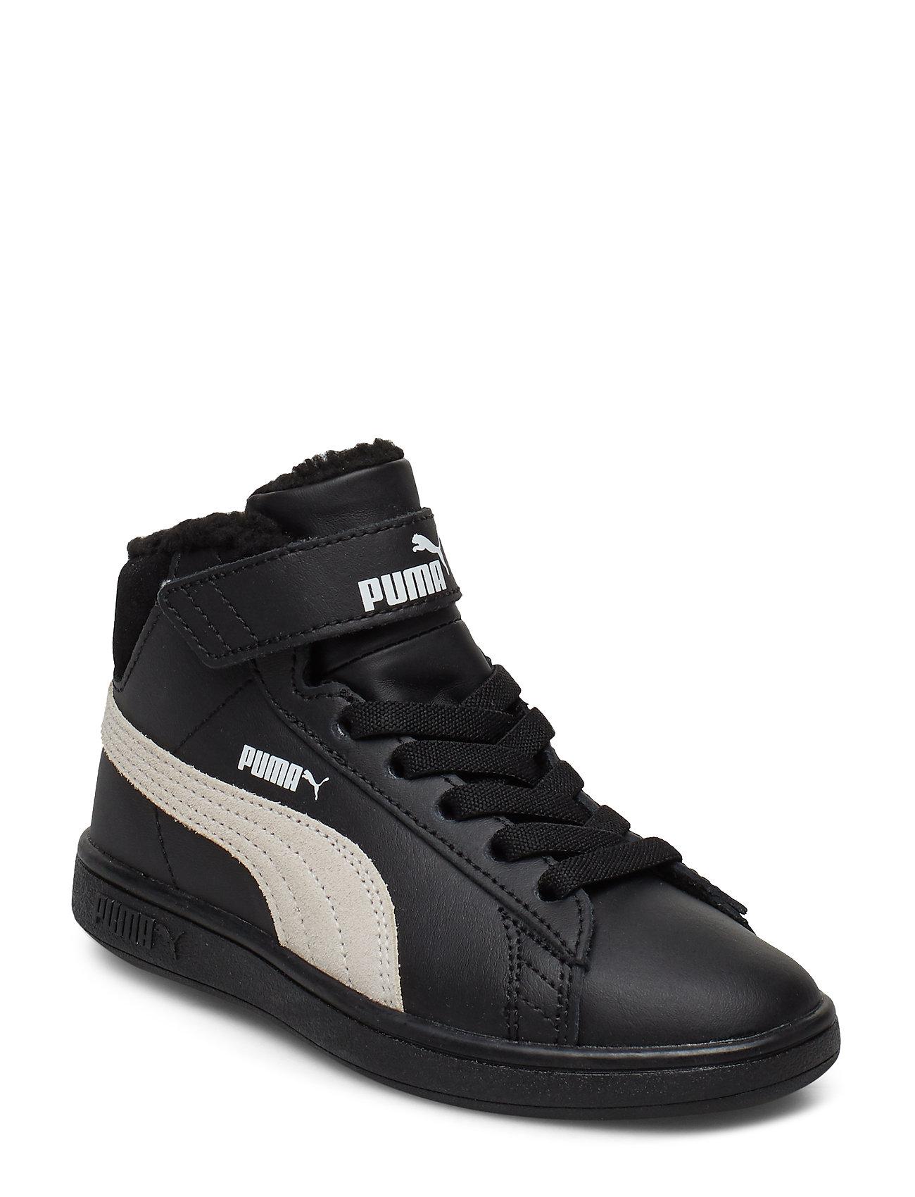 PUMA Puma Smash v2 Mid L Fur V PS - PUMA BLACK-WHISPER WHITE