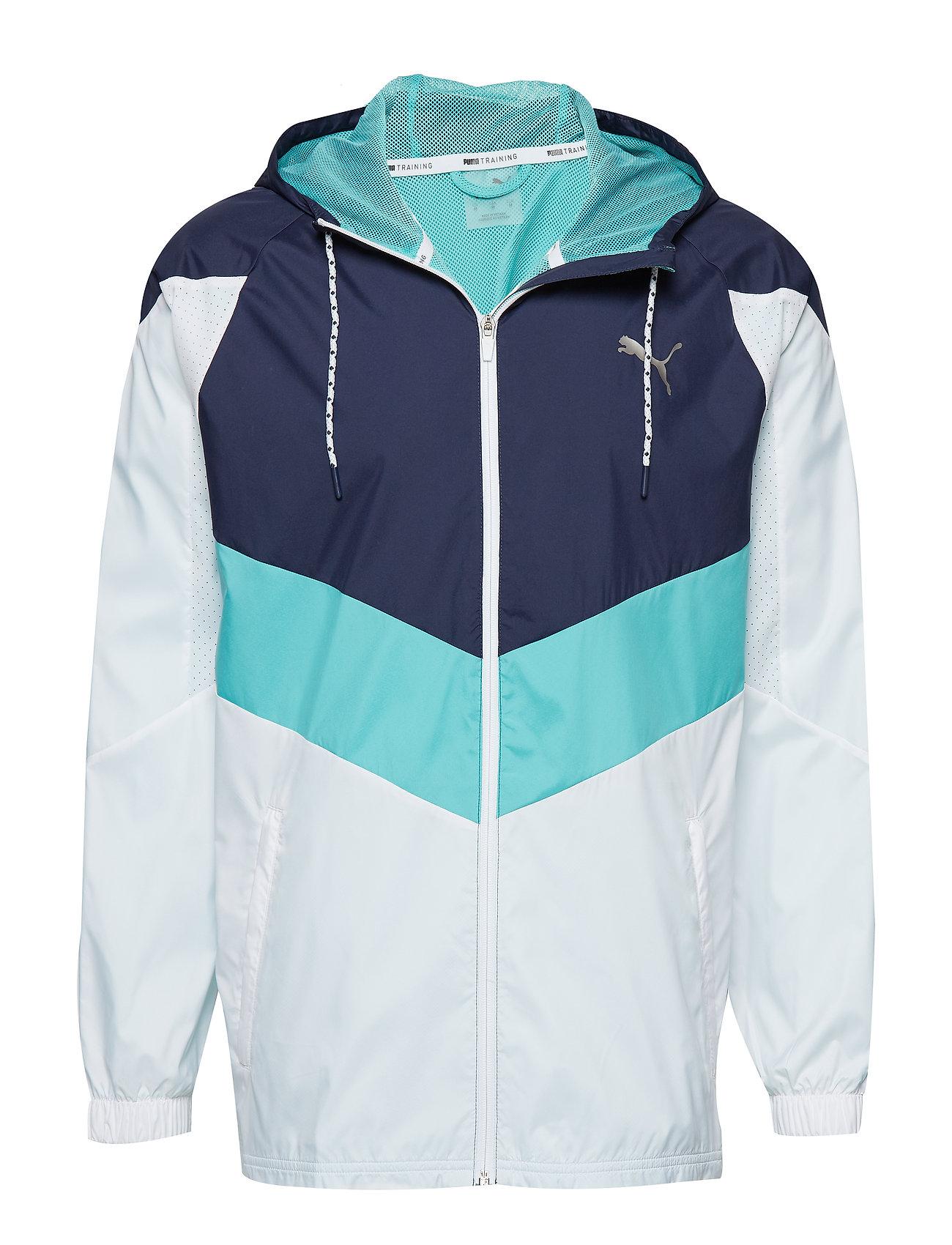 PUMA Reactive Wvn jacket - PUMA WHITE-PEACOAT-BLUE TURQUOISE