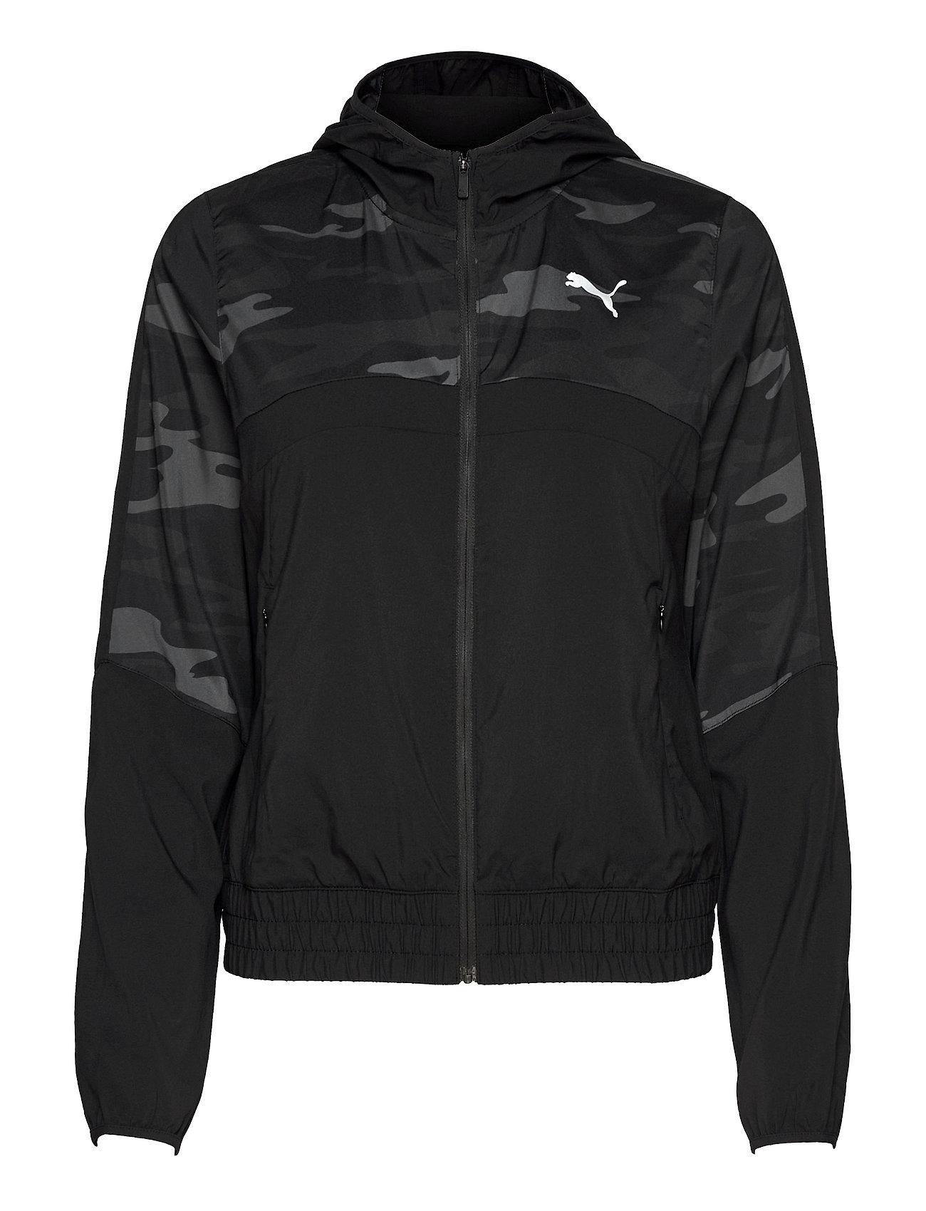 Run Graphic Hooded Jacket W Outerwear Sport Jackets Sort PUMA