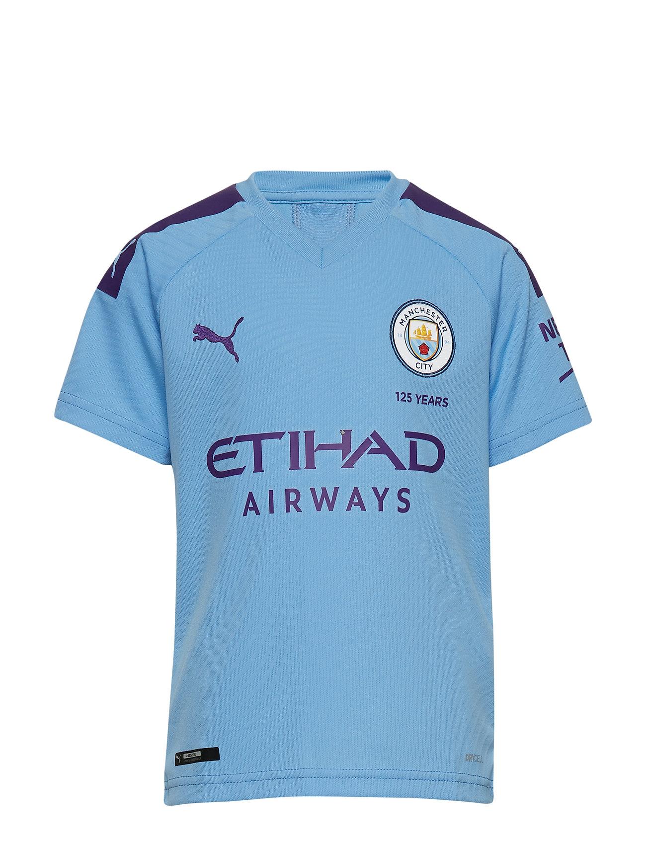PUMA MCFC HOME Shirt Replica SS Jr with Sponsor Logo - TEAM LIGHT BLUE-TILLANDSIA PURPLE