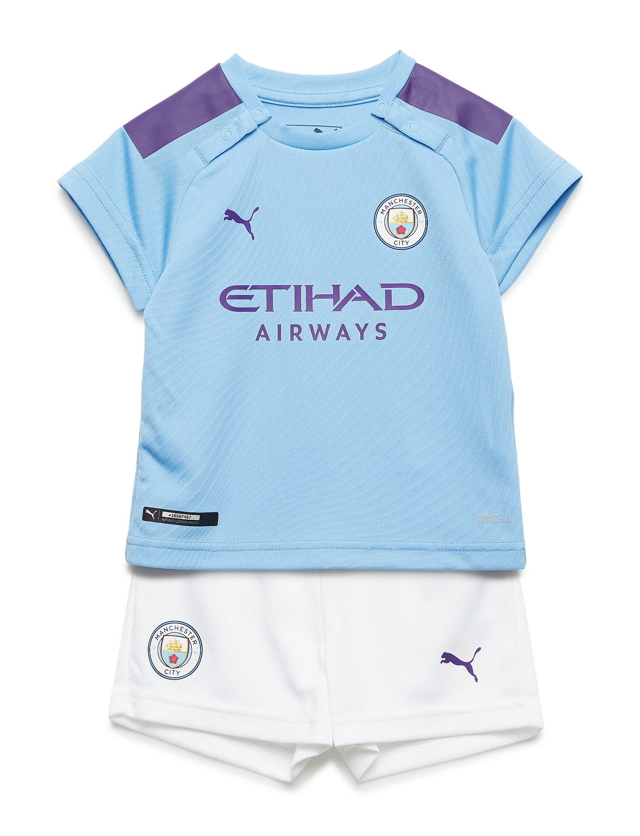 PUMA MCFC HOME BABY-Kit with Sponsor Logo, SOCKS & HANGER - TEAM LIGHT BLUE-TILLANDSIA PURPLE