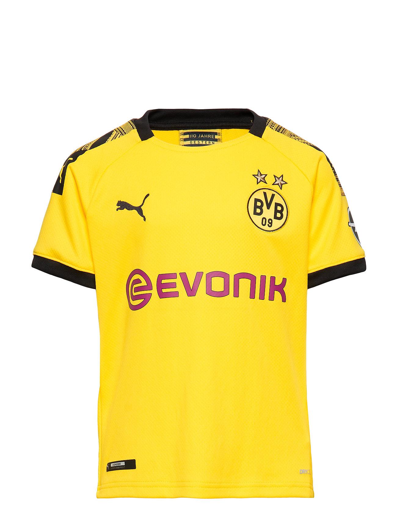 PUMA BVB Home Shirt Replica Jr with Evonik Logo with OPEL Logo - CYBER YELLOW-PUMA BLACK
