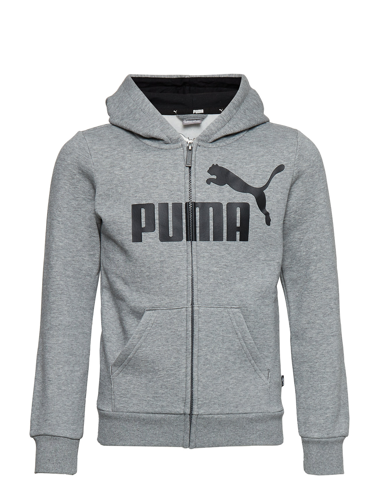 PUMA ESS Logo Hooded Jacket FL B - MEDIUM GRAY HEATHER