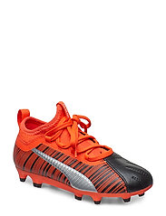 PUMA ONE 5.3 FG/AG Jr - PUMA BLACK-NRGY RED-PUMA AGED SILVER
