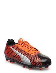 PUMA ONE 5.4 FG/AG Jr - PUMA BLACK-NRGY RED-PUMA AGED SILVER