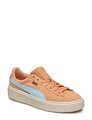 Suede Platform SNK Jr - DUSTY CORAL-CERULEAN-PUMA TEAM GOLD