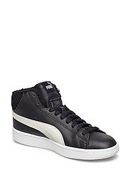 Puma Smash v2 Mid L Fur Jr - PUMA BLACK-PUMA WHITE