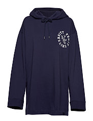 LS Back Lacing Hoodie - EVENING BLUE
