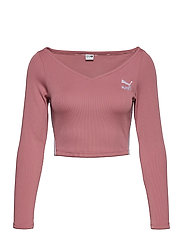Classics Ribbed Longsleeve Cropped Top - FOXGLOVE