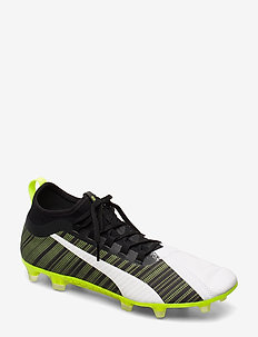 PUMA ONE 5.2 FG/AG - football shoes - puma white-puma black-yellow alert