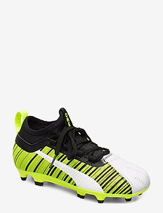 PUMA ONE 5.3 FG/AG Jr - buty piłkarskie - puma white-puma black-yellow alert