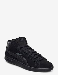 Puma Smash v2 Mid WTR - korkeavartiset tennarit - puma black-puma black