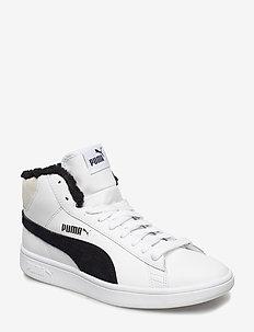 Puma Smash v2 Mid L Fur Jr - PUMA WHITE-PUMA BLACK