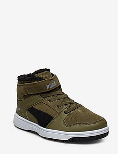 Puma Rebound Layup Fur SD V PS - BURNT OLIVE-PUMA BLACK-LIMESTONE-PUMA WHITE