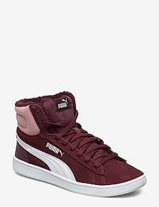 Puma Vikky v2 Mid Fur Jr - VINEYARD WINE-BRIDAL ROSE-PUMA WHITE