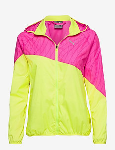 Run Graphic Hooded Jacket - sportjacken - fizzy yellow-luminous pink