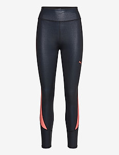 Train Pearl Print High Waist 7/8 Tight - running & training tights - puma black-nrgy peach