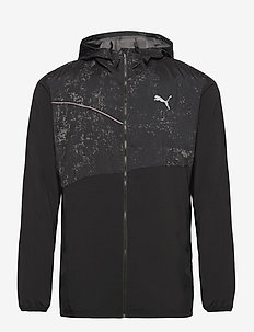 RUN GRAPHIC HOODED JACKET M - sportsjakker - puma black