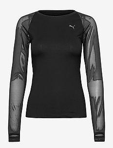 STUDIO Yogini LT Mesh Fitted LS Top - langarmshirts - puma black