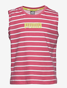 Alpha Striped Tank G - sleeveless tops - bubblegum