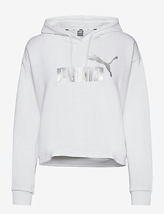 ESS+ Cropped Metallic Logo Hoodie TR - hættetrøjer - puma white-silver