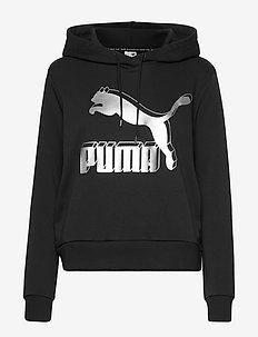 Classics Logo Hoody - hupparit - puma black-metallic silver