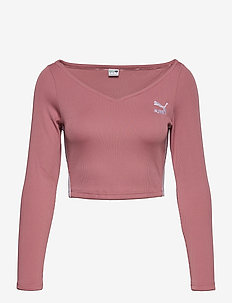 Classics Ribbed Longsleeve Cropped Top - crop-topit - foxglove