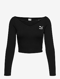 Classics Ribbed Longsleeve Cropped Top - crop-topit - puma black