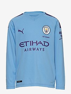 MCFC HOME Shirt Replica LS Jr with Sponsor Logo - TEAM LIGHT BLUE-TILLANDSIA PURPLE