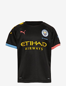 MCFC AWAY Shirt Replica SS Jr with Sponsor Logo - PUMA BLACK-GEORGIA PEACH