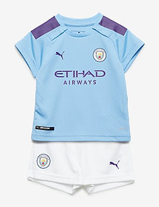 MCFC HOME BABY-Kit with Sponsor Logo, SOCKS & HANGER - football shirts - team light blue-tillandsia purple