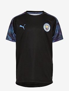 MCFC Training Jersey Jr - PUMA BLACK-TEAM LIGHT BLUE
