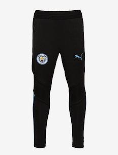 MCFC Training Pants PRO Jr with zipped pockets - PUMA BLACK-TEAM LIGHT BLUE