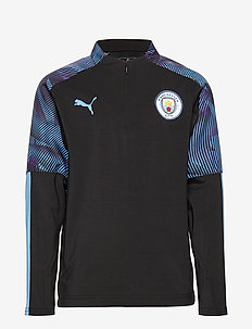 MCFC 1/4 Zip Training Top Jr - PUMA BLACK-TEAM LIGHT BLUE