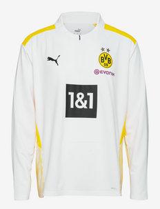 BVB Training 1/4 Zip Top w/ Sponsor - koszulki piłkarskie - puma white-cyber yellow
