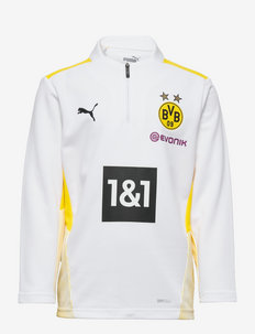 BVB Training 1/4 Zip Top Jr w/ Sponsor - voetbalshirts - puma white-cyber yellow