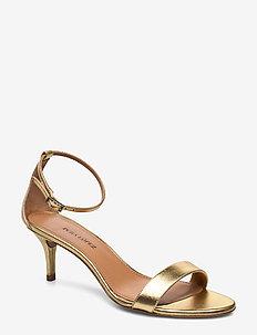AQ255 - sandały na obcasie - napa metal gold 46