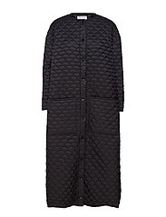 Bobi Long Coat - BLACK QUILTED