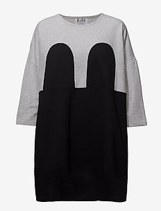 Mickey Square Dress - LIGHT GREY / BLACK