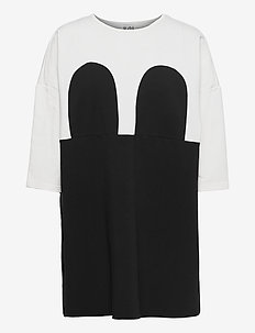 Mickey Square Dress - korta klänningar - off white/black