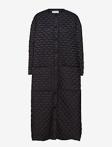 Bobi Long Coat - BLACK QUILTED