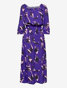 Lala Dress - midi kjoler - blue hand print