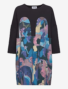 Mickey Square Dress - korta klänningar - painter print/black